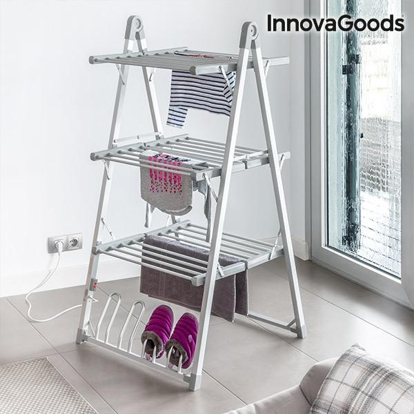tendoir linge lectrique pliable compak innovagoods 300w gris 30 barres innovadeals. Black Bedroom Furniture Sets. Home Design Ideas